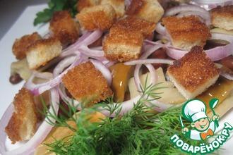Салат постный с фасолью и грибами
