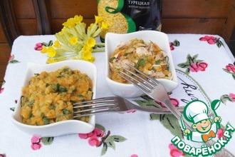 Чечевица в овощном соусе с курицей