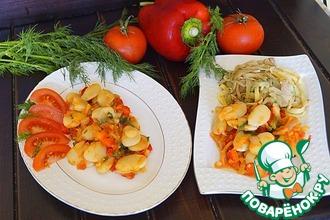 Фасоль с овощами и салатом из курицы