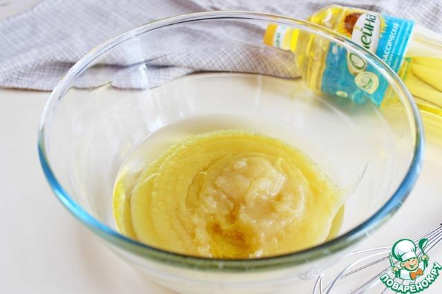 """Готовое яблочное смешать с растительным маслом """"Олейна""""."""