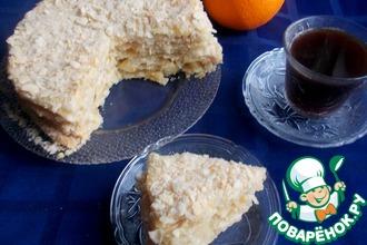 """Постный торт """"Наполеон"""" с апельсиновым кремом"""
