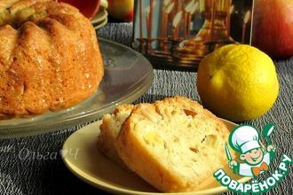 Постная шарлотка с яблоками в лимонной глазури
