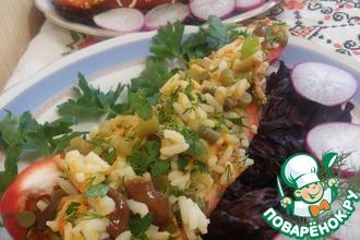 Салат с рисом и черемшой в перце