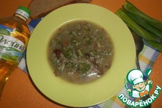 """Гречневый суп с грибами и """"зелёными"""" клецками"""