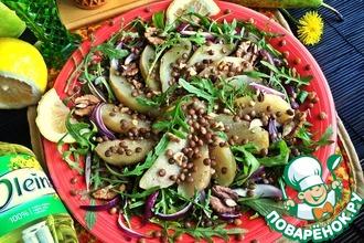 Салат с чечевицей и грушами