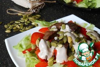 Салат с печенью и семечками