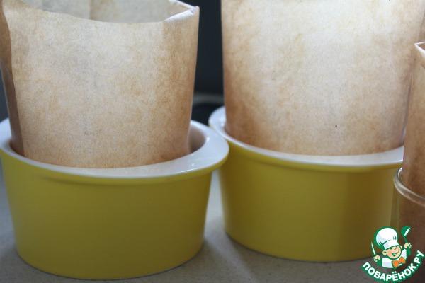 Проложить формочки промасленной бумагой и выложить тесто на 1/3 объема.   Постоят 15 минут и в разогретую до 180 духовку на 20-30 минут - в зависимости от размера формы.