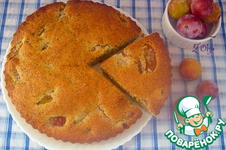 Маково-манный пирог со сливой