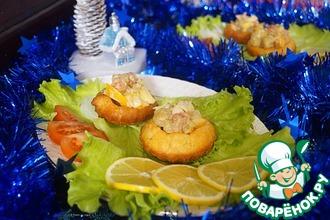 Корзиночки с салатом из красной рыбы