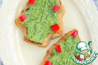 Рыбное суфле под зеленым сырным соусом
