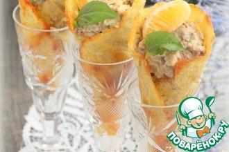 Мандариново-печеночный салат в сырных рожках