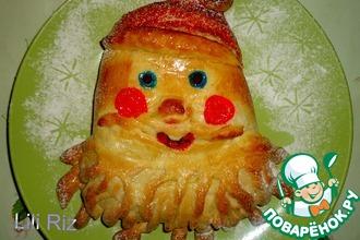 """Пирог """"Дед Мороз"""" с творожной начинкой"""