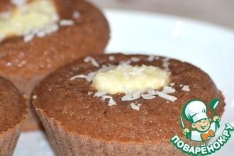 Шоколадные кексы с творожно-кокосовой начинкой