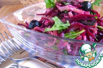 Салат из свеклы с омлетом и грибами