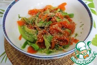 Ленточный салат из кабачка и моркови