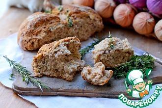 Бездрожжевой хлеб с луком и беконом