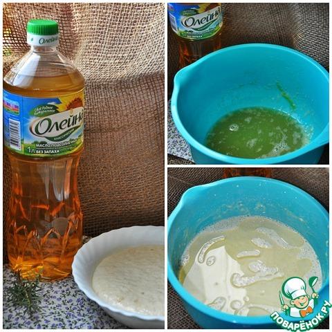 """Для опары раскрошите свежие дрожжи, залейте теплым молоком ( 0,5 стакана), добавьте 1 ч. л. сахара и немного муки. Емкость с опарой накройте и ждите, пока не появится пенная шапочка. В большой миске соедините опару, оставшееся молоко, предварительно подогрев его, яйца и муку. Вымесите тесто, накройте миску салфеткой и уберите в теплое место для расстойки. На это уйдет примерно 1 час. Не забывайте время от времени помешивать тесто, чтобы оно не убежало. Добавьте в тесто растительное масло """" Олейна"""", что значительно улучшит вкус блинов и при жарке не нужно будет смазывать сковороду."""