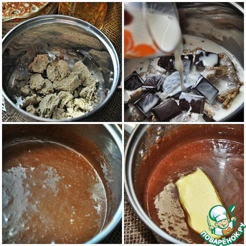 Халву разомните и отправьте в небольшой сотейник или ковш. Добавьте в сотейник молоко, шоколад, крахмал и поставьте на маленький огонь. Проварите смесь до загустения, а затем пробейте ее блендером, чтобы избавиться от возможных комочков халвы или какао с крахмалом. Добавьте сливочное масло и ещё раз пробейте блендером.