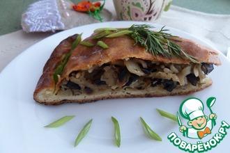 Пирог с капустой, рисом и грибами