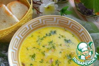 Сырный суп с копчёной курицей