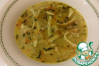 Суп с пшеном и яичным омлетом
