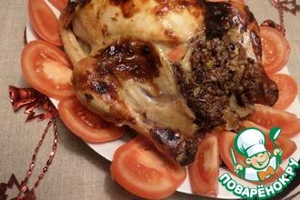 Курица, фаршированная рисом, яблоком, барбарисом