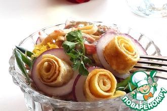 Салат с морской капустой и лососем