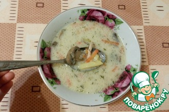Сырный суп с овсянкой и грибами