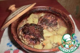 Картофель с куриными бёдрами в кефире