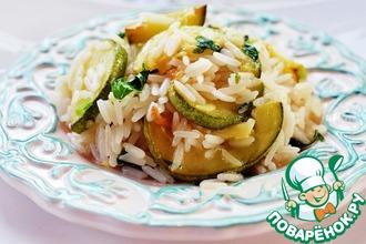 Рис с кабачками, копченым сыром и мятой