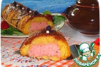 Кекс с клубнично-йогуртовой начинкой