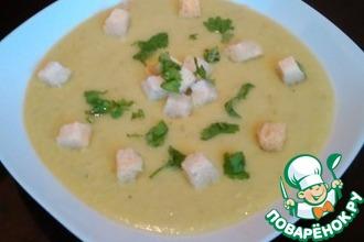 Суп-пюре из зеленого горошка и кабачка