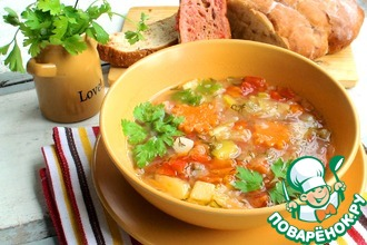 Овощной суп с томатно-чесночными гренками