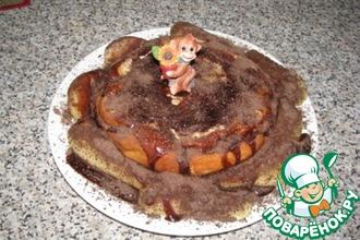 Творожно-манный пирог под шоколадной глазурью
