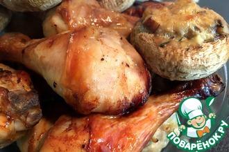 Курица с фаршированными шампиньонами в духовке
