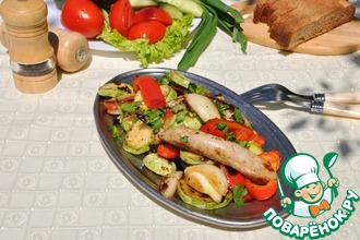 Салат-гриль из овощей и колбасок