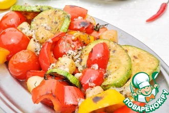Салат из овощей-гриль и гребешка