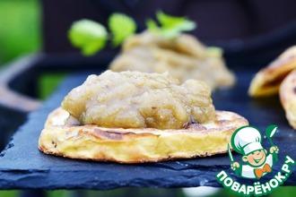 Ломтики картофеля с пюре из запеченного баклажана