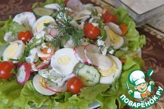 Салат из молодых овощей и яиц