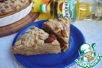 Блинный торт с яблочно-миндальной начинкой