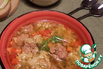 Овощной суп с булгуром и фрикадельками