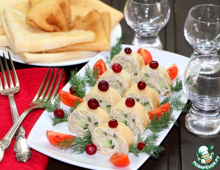 """Закуска """"Блинчики-рулончики"""" для праздничного стола"""