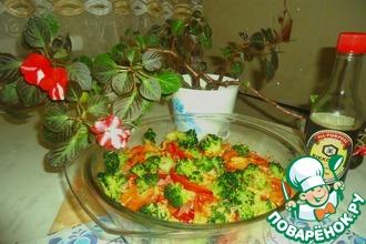Макароны с овощами в соево-сырном соусе
