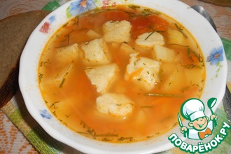 Овощной суп с пшенными клёцками