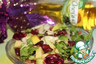Постный салат с красной фасолью и яблоком