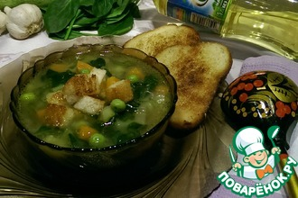 """Постный суп """"Весенний букет"""" с гренками"""