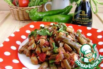 Салат-гарнир из фасоли с грибами