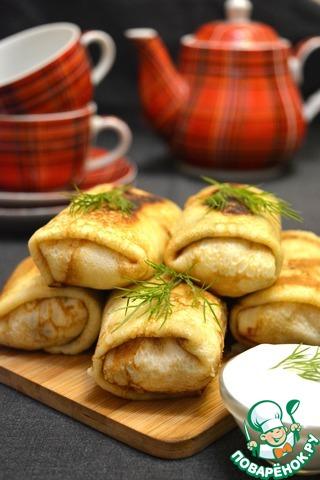 Фаршированные блинчики можно приготовить с вечера, а утром на завтрак лишь поджарить. Также их удобно замораживать впрок.   Вот так одним куском курицы можно накормить большую семью!