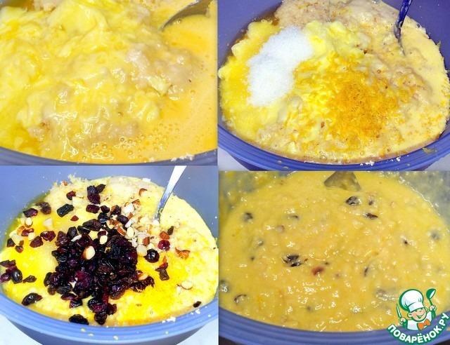 Добавила мягкое сливочное масло,   ванильный сахар, цедру лимона, изюм, клюкву,     измельчённые ножом орехи и выжала сок лимона.     Перемешала тесто.