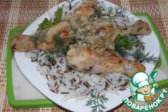 Курица с луком и рисом